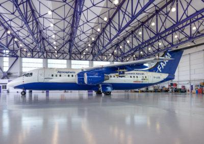 FAAM aircraft inside the hangar