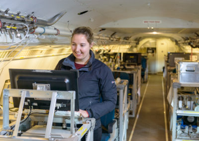 Rebecca Carling onboard the FAAM aircraft